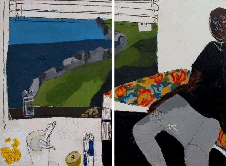 NO TITLE (CLIFFS), 2011, mixed media on canas, dyptih, each 100 X 120 cm