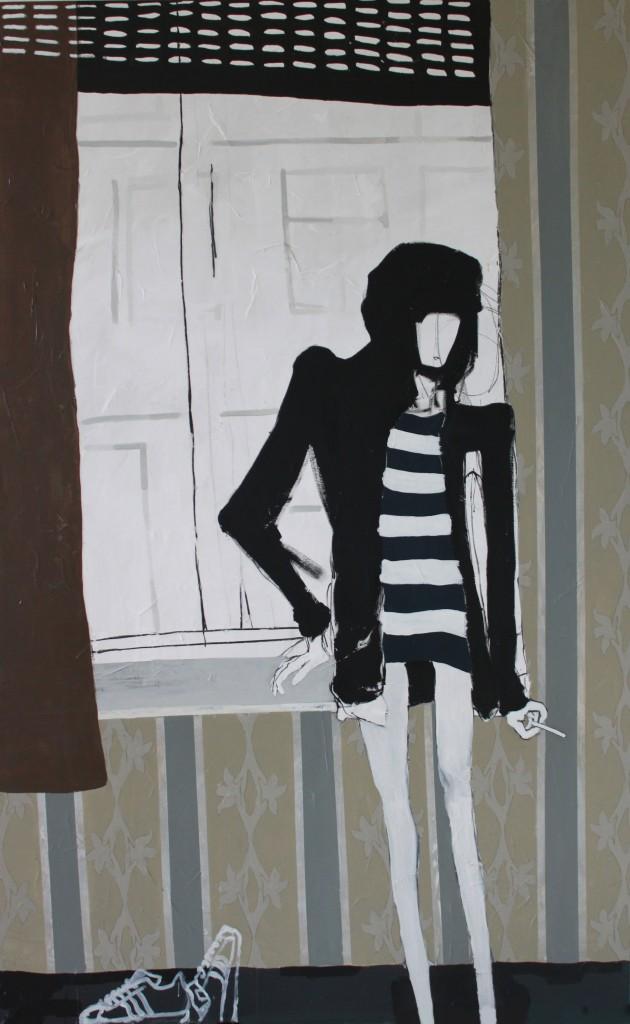 WINDOW, 2012, mixed media on canvas, 240 X 150 cm