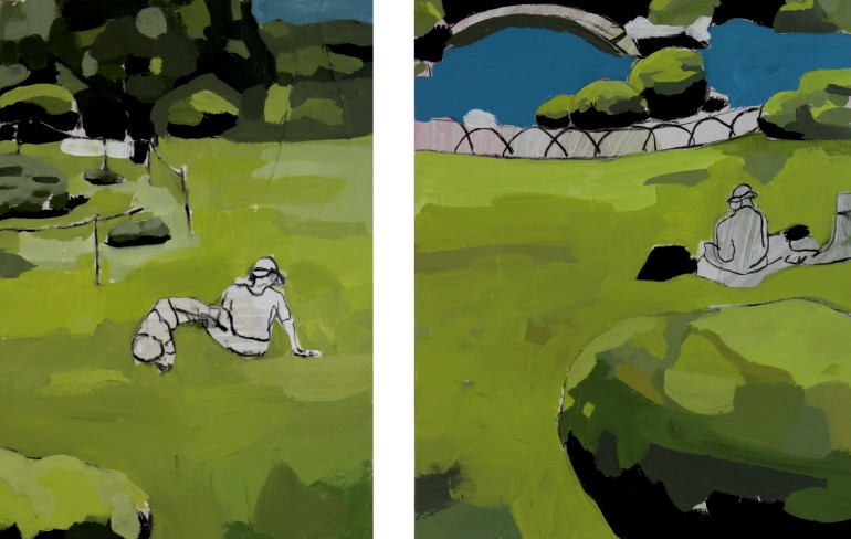 BERLIN, 2012, mixed media on canvas, dyptih, each 50 X 40 cm