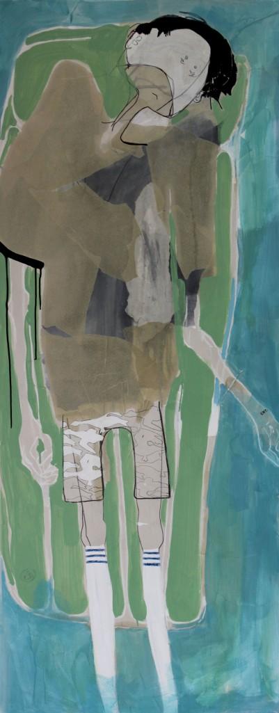 SEA MATTRESS, 2012, mixed media on canvas, 190 X 75 cm