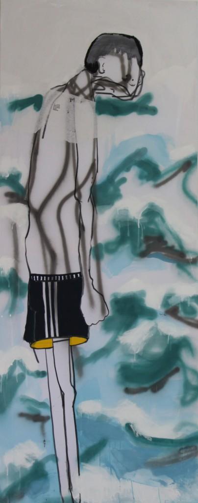 GREEK EUTHANASIA, 2012, mixed media on canvas, 190 X 75 cm