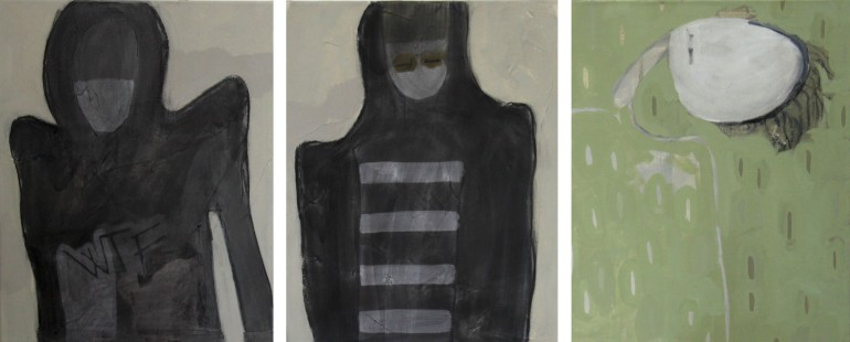 CAN'T DO IT, 2012, mixed media on canvas, triptych, 40 X 30 cm each