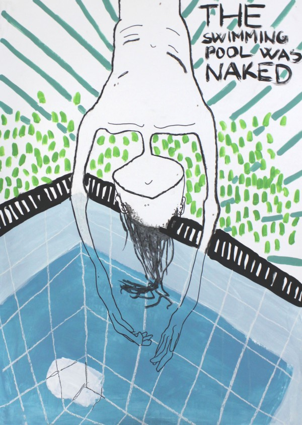 THE SWIMMING POOL WAS NAKED, 2013, charcoal and acrylic paint on paper, 100 X 70 cm