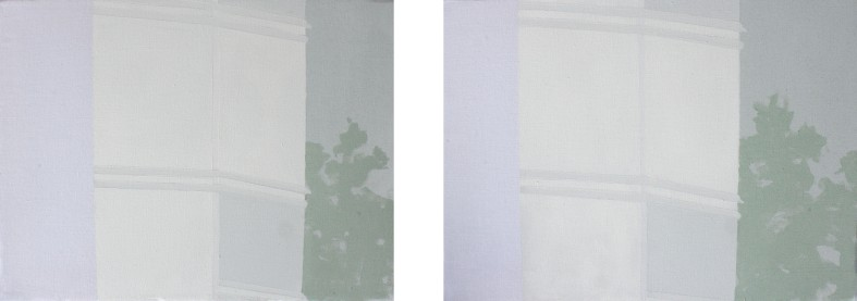 STAYING, 2013, acrylic on canvas, diptych, each 30 X 40 cm