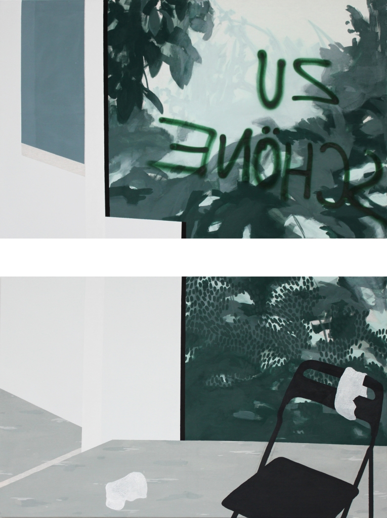 STILL (WAITING) LIFE, 2013, mixed media on canvas, diptych, each 90 X 145 cm