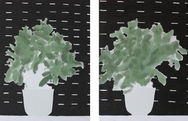 NO TITLE (LIGHT), 2014, acrylic on canvas, diptych, each 40 X 30 cm